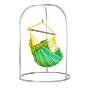 Zestaw hamakowy: fotel hamakowy Sonrisa ze stojakiem Romano, zielono-żółty SNC14ROA16