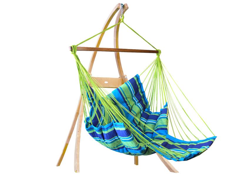 Zestaw hamakowy: fotel pikowany Comfy ze stojakiem drewnianym Atlas, Niebieski fotel Comfy+stojak Atlas