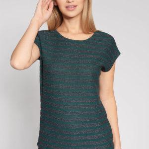 Zielona bluzka w błyszczące paski