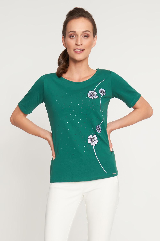 Zielona bluzka z czterema kwiatami