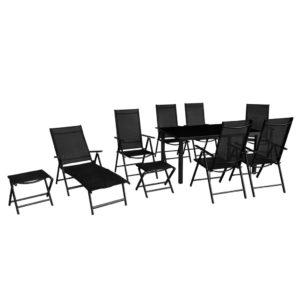 vidaXL 10-cz. zestaw mebli ogrodowych, aluminium, czarny