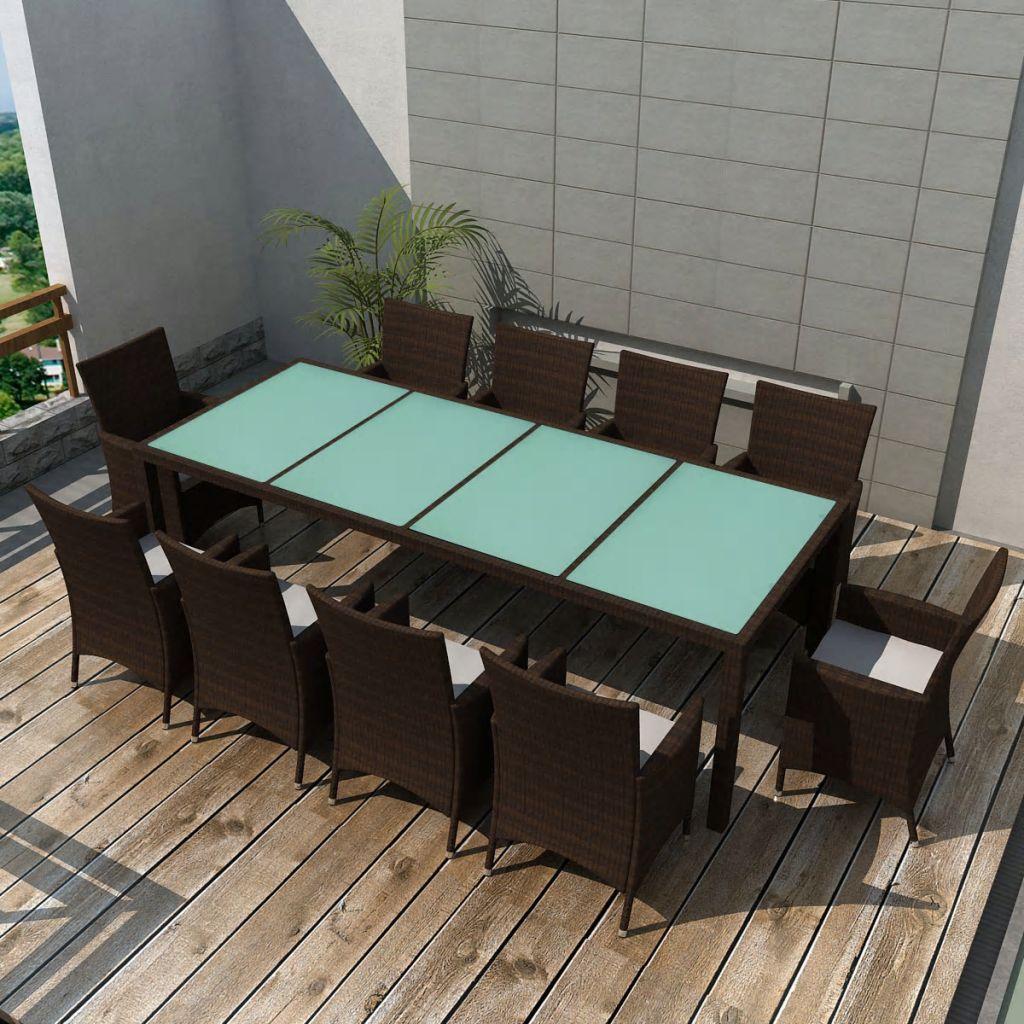 vidaXL 11-cz. zestaw mebli ogrodowych z poduszkami, rattan PE, brązowy
