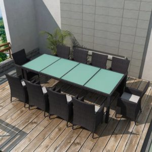 vidaXL 11-cz. zestaw mebli ogrodowych z poduszkami, rattan PE, czarny