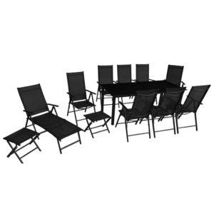 vidaXL 12-cz. zestaw mebli ogrodowych, aluminium, czarny