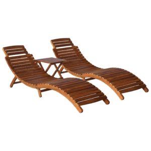 vidaXL 3-częściowy zestaw leżaków ze stolikiem, lite drewno akacjowe