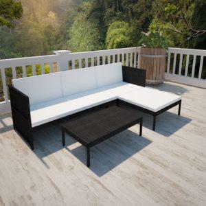 vidaXL 3-cz. zestaw wypoczynkowy do ogrodu, poduszki, rattan PE czarny
