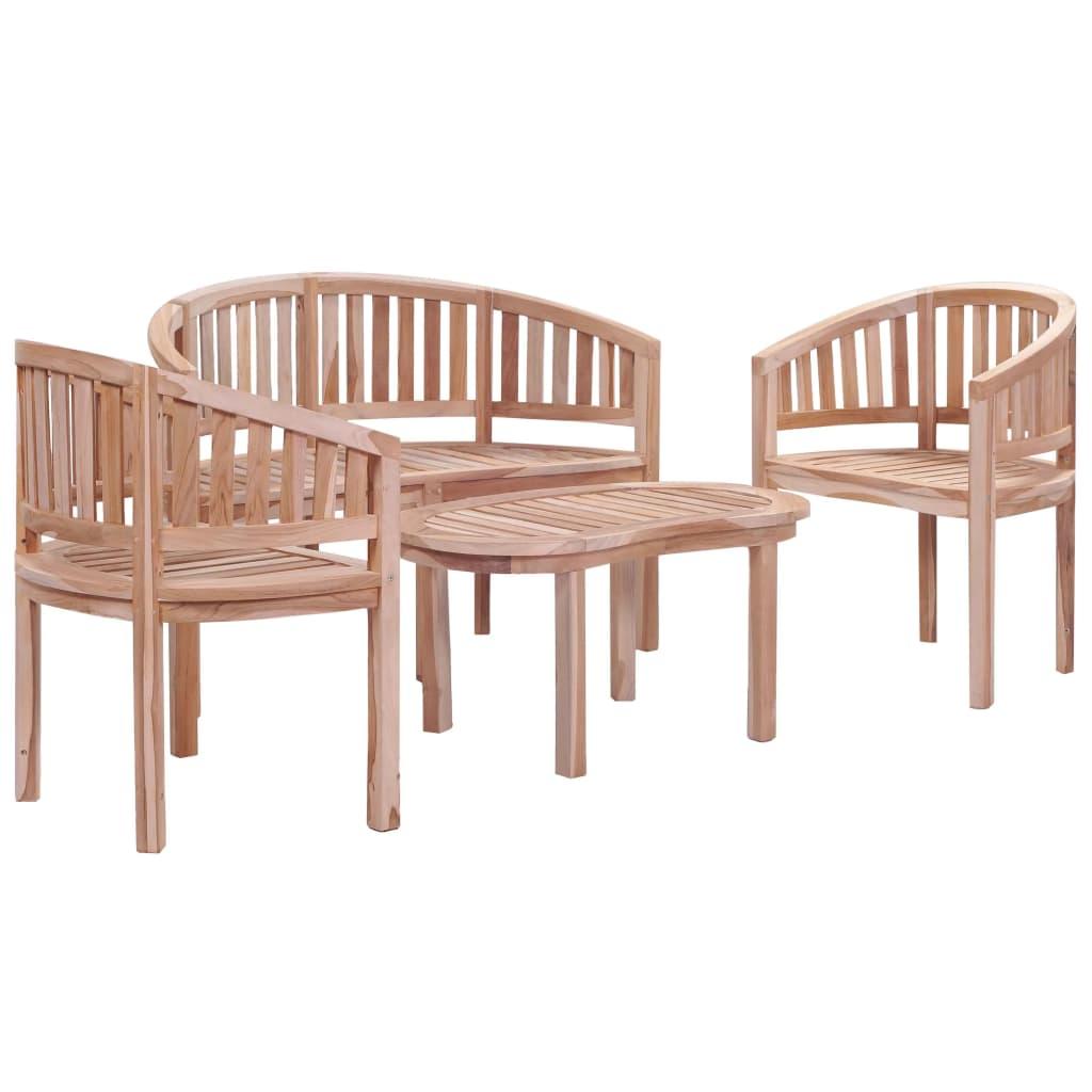 vidaXL 4-cz. zestaw mebli ogrodowych, lite drewno tekowe