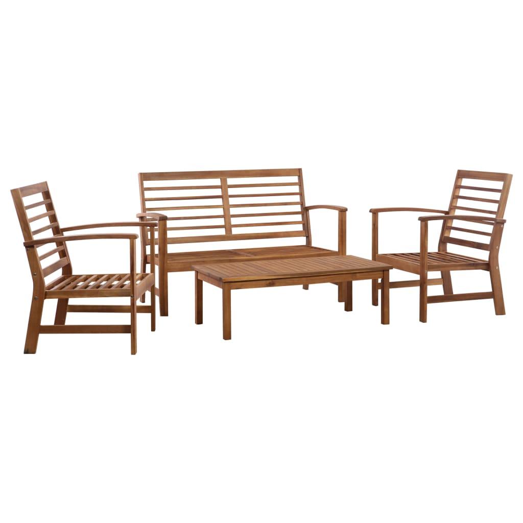 vidaXL 4-cz. zestaw wypoczynkowy do ogrodu, lite drewno akacjowe