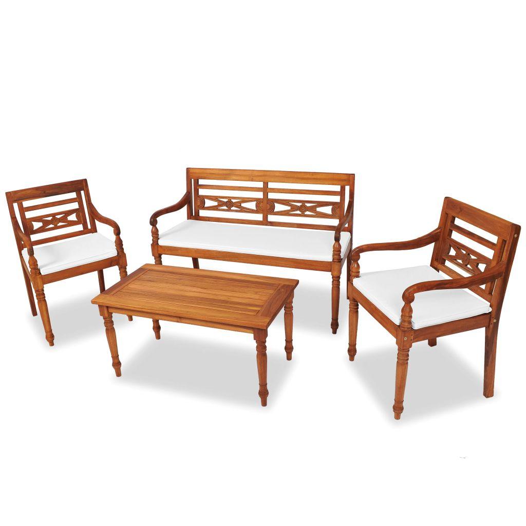 vidaXL 4-cz. zestaw wypoczynkowy do ogrodu, poduszki, drewno tekowe