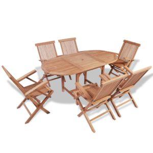 vidaXL 7-cz. zestaw mebli ogrodowych, lite drewno tekowe