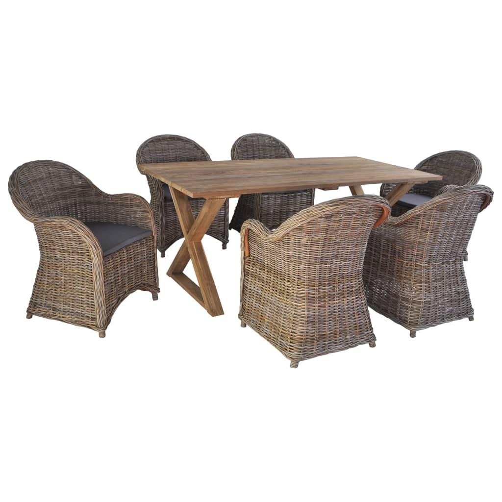vidaXL 7-cz. zestaw mebli ogrodowych, rattan i lite drewno tekowe