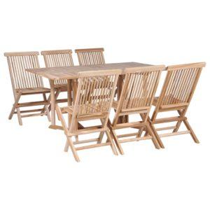 vidaXL 7-cz. zestaw składanych mebli ogrodowych, lite drewno tekowe
