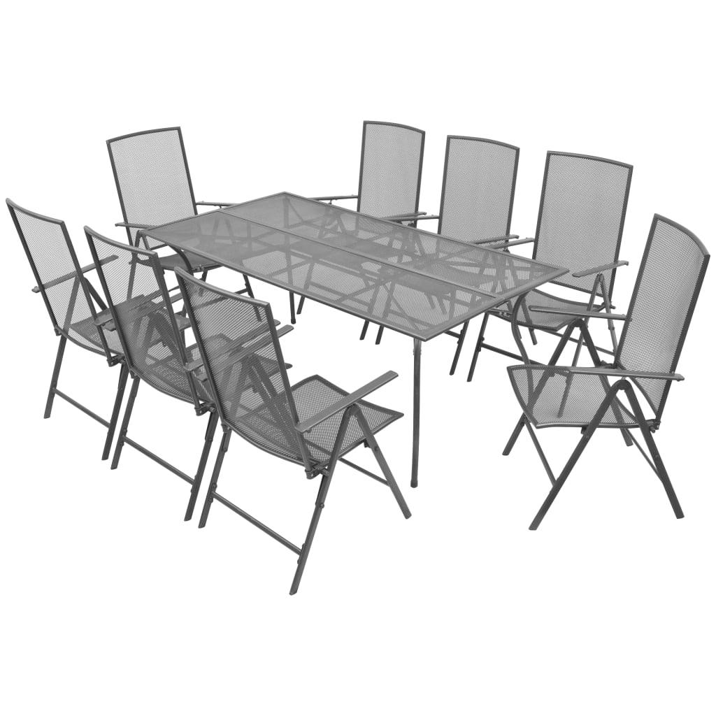 vidaXL 9-cz. składany zestaw mebli ogrodowych, stal, antracytowy