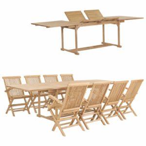 vidaXL 9-cz. zestaw mebli do ogrodu, 180-280x100x75 cm, drewno tekowe