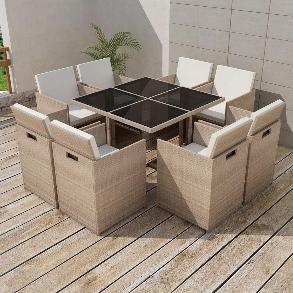 vidaXL 9-cz. zestaw mebli ogrodowych z poduszkami, rattan PE, beżowy