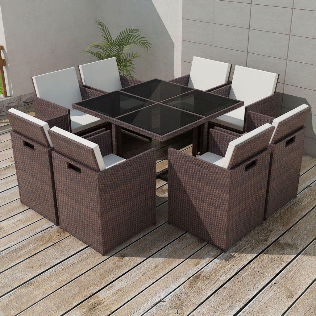 vidaXL 9-cz. zestaw mebli ogrodowych z poduszkami, rattan PE, brązowy