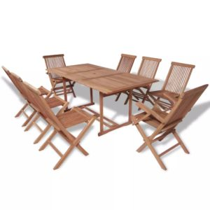 vidaXL 9-cz. zestaw składanych mebli ogrodowych, lite drewno tekowe