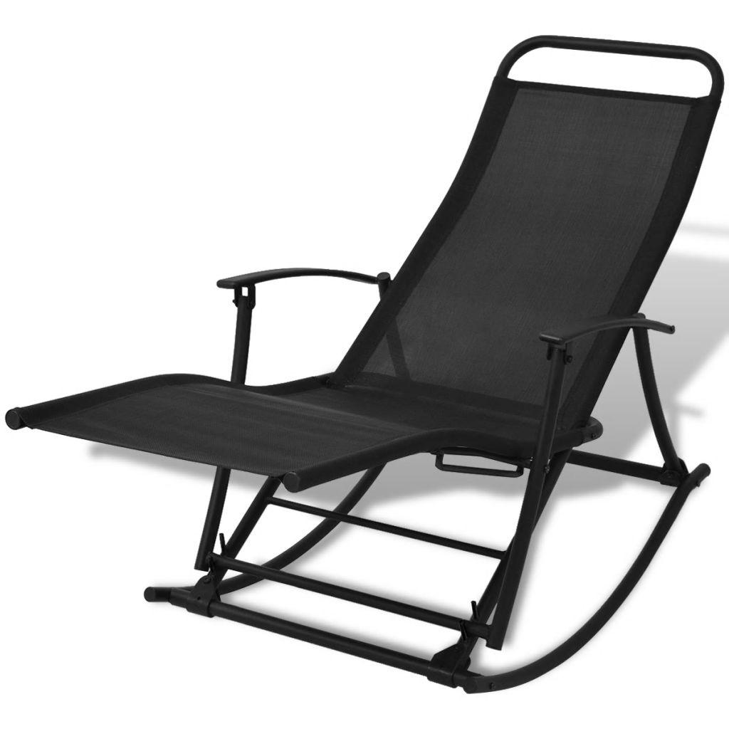 vidaXL Bujane krzesło ogrodowe, stal i tworzywo textilene, czarne
