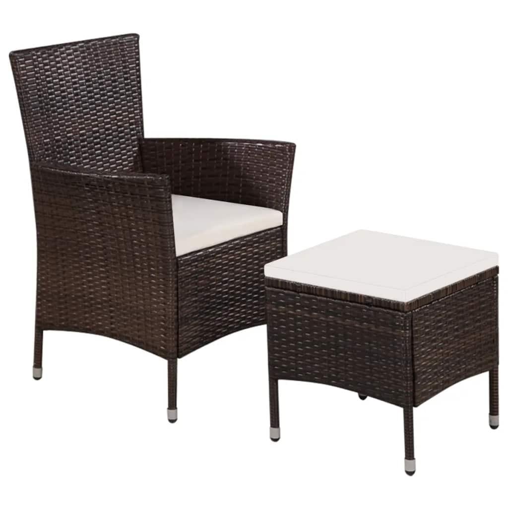vidaXL Fotel ogrodowy z podnóżkiem i poduszkami, polirattan, brązowy