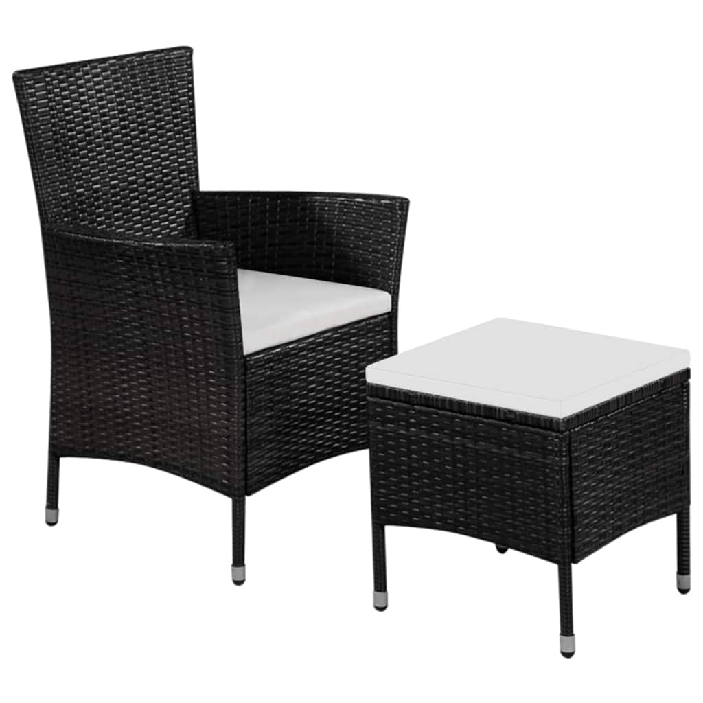 vidaXL Fotel ogrodowy z podnóżkiem i poduszkami, polirattan, czarny