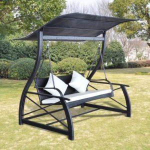 vidaXL Huśtawka ogrodowa z polirattanu, czarna, 167x130x178 cm