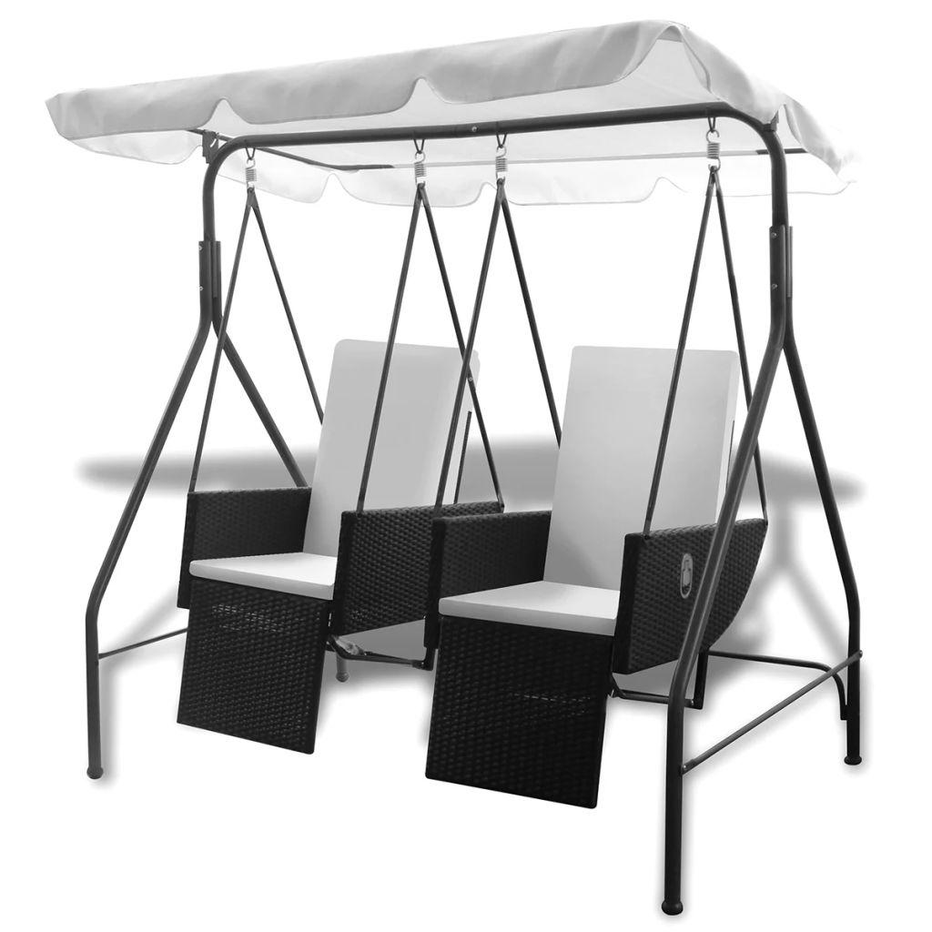 vidaXL Huśtawka ogrodowa z polirattanu z 2 siedziskami