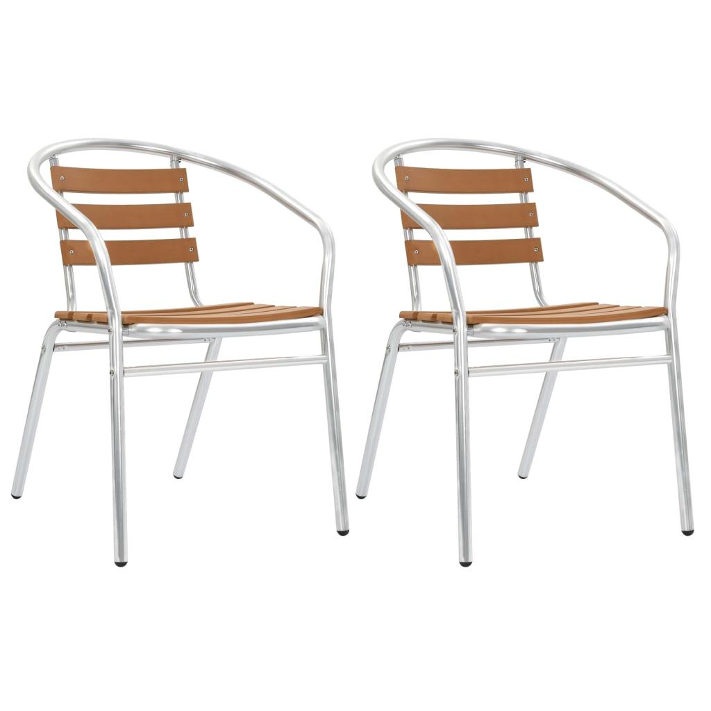 vidaXL Krzesła ogrodowe, sztaplowane, 2 szt., aluminium i WPC, srebrne