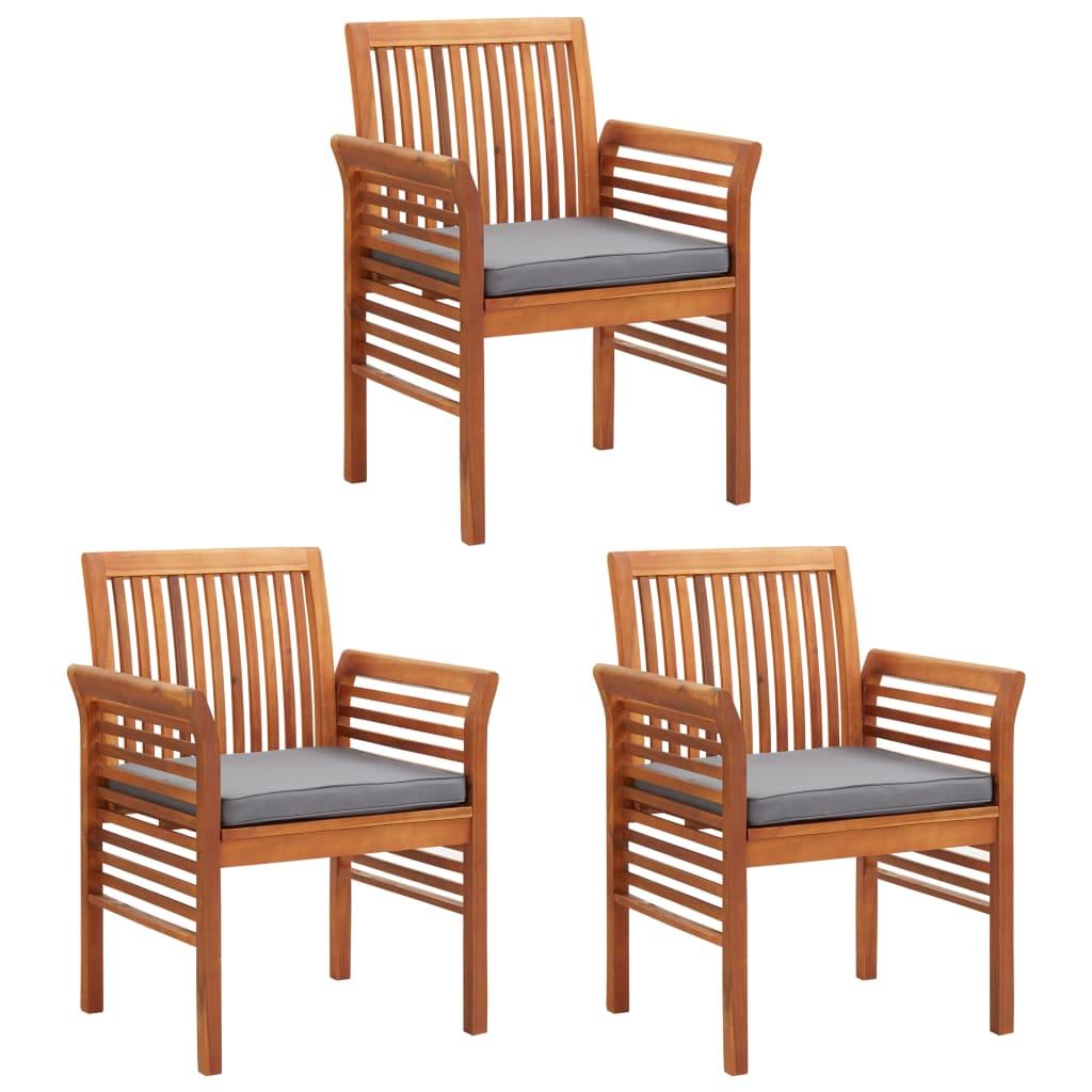 vidaXL Krzesła ogrodowe z poduszkami, 3 szt., lite drewno akacjowe