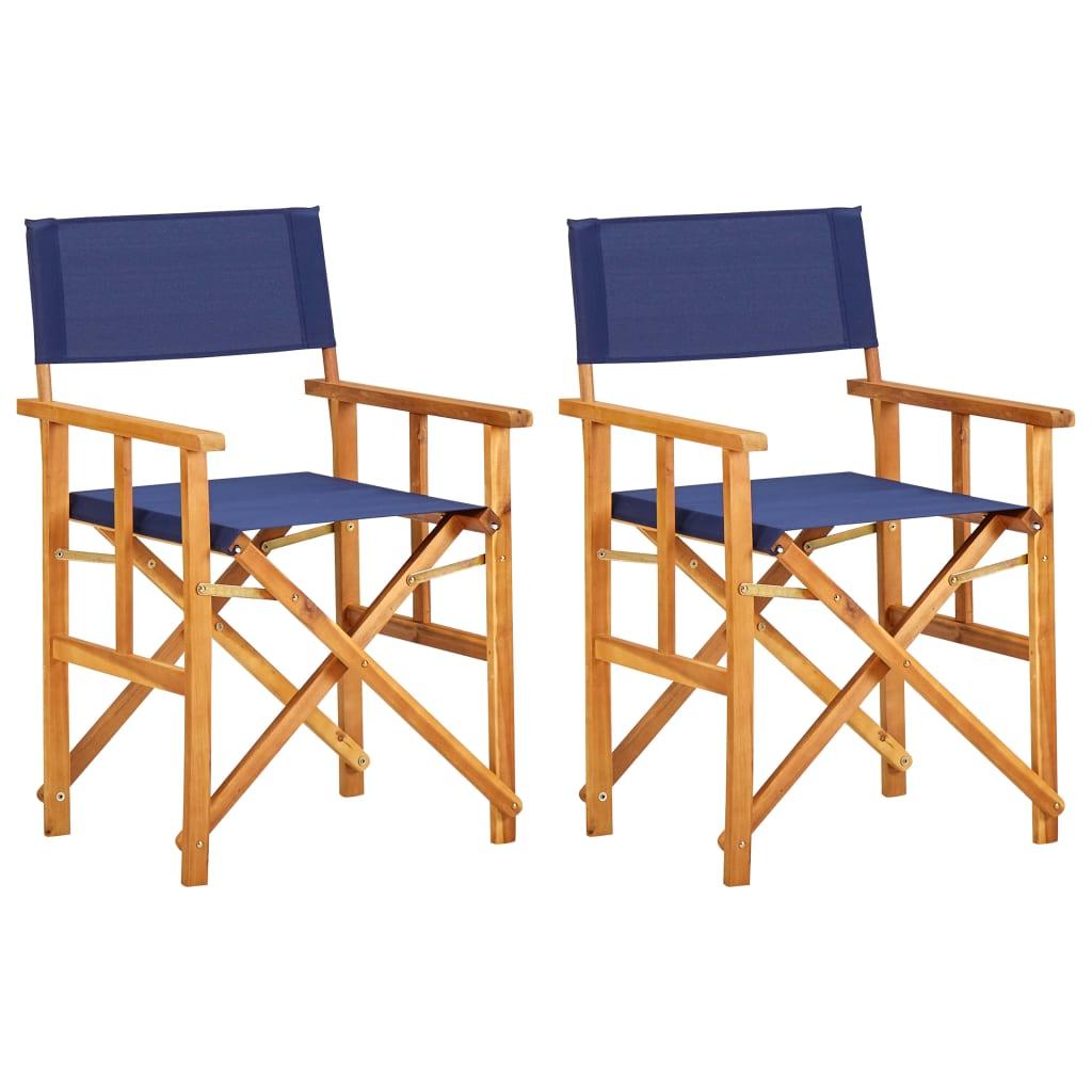 vidaXL Krzesła reżyserskie, 2 szt., lite drewno akacjowe, niebieskie
