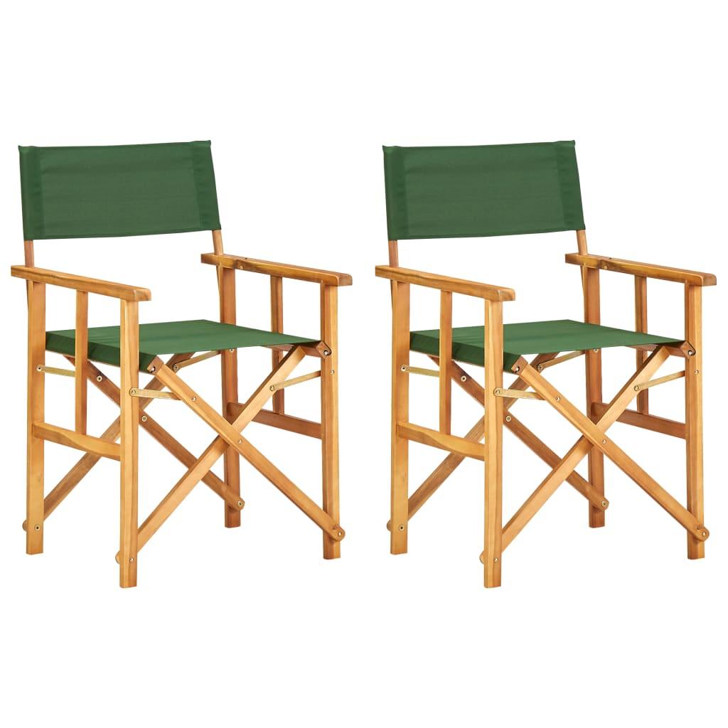 vidaXL Krzesła reżyserskie, 2 szt., lite drewno akacjowe, zielone