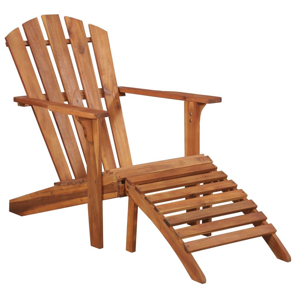 vidaXL Krzesło ogrodowe Adirondack z podnóżkiem, lite drewno akacjowe