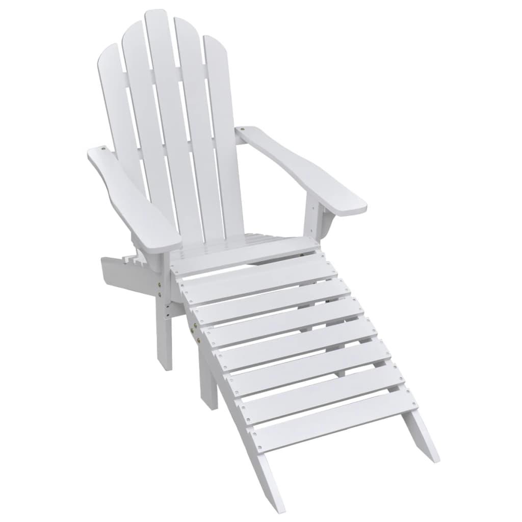 vidaXL Krzesło ogrodowe z podnóżkiem, drewniane, białe
