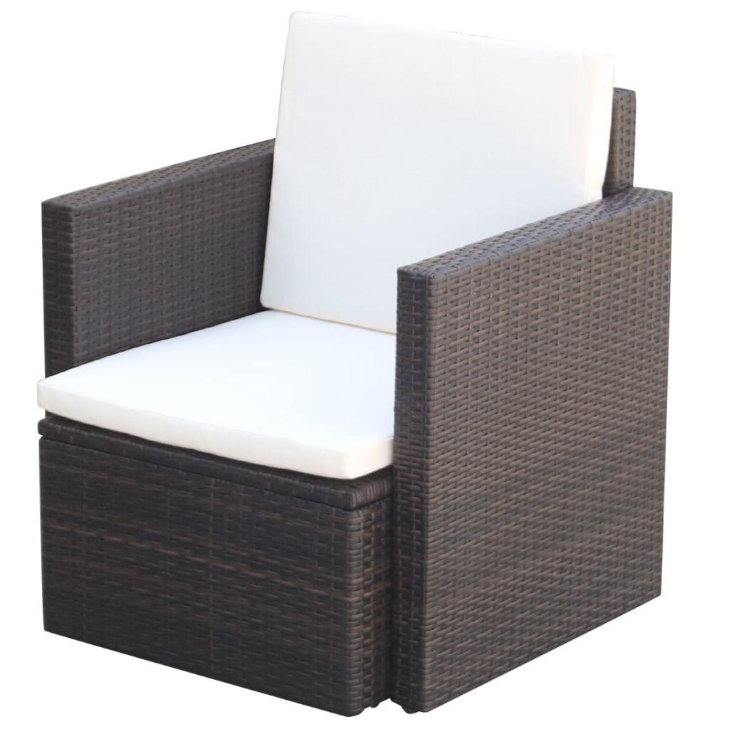 vidaXL Krzesło ogrodowe z poduszkami, polirattan, brązowe