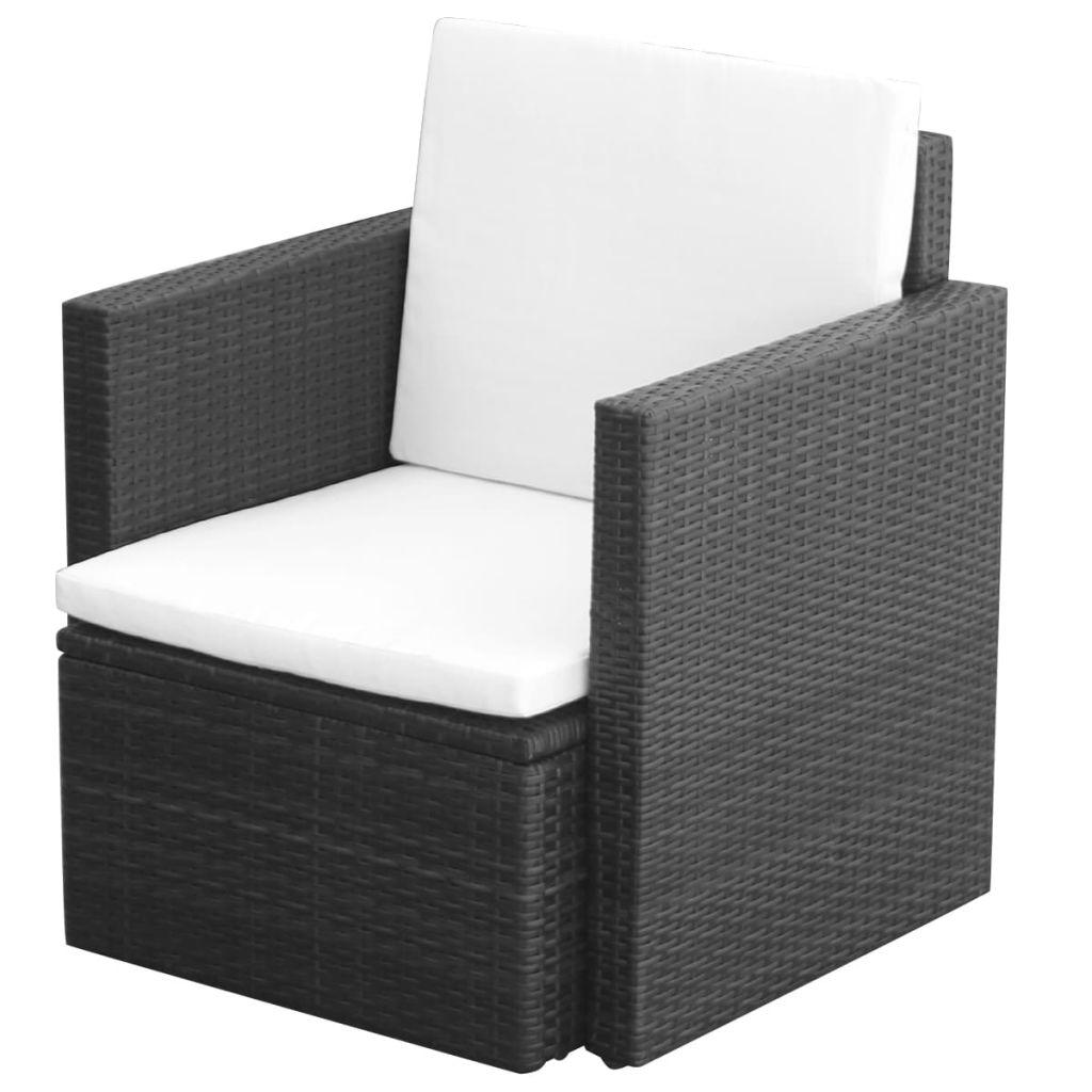 vidaXL Krzesło ogrodowe z poduszkami, polirattan, czarne