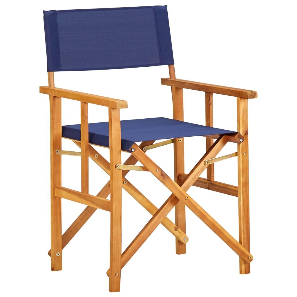 vidaXL Krzesło reżyserskie, lite drewno akacjowe, niebieskie