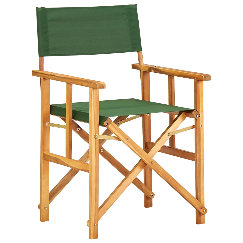 vidaXL Krzesło reżyserskie, lite drewno akacjowe, zielone