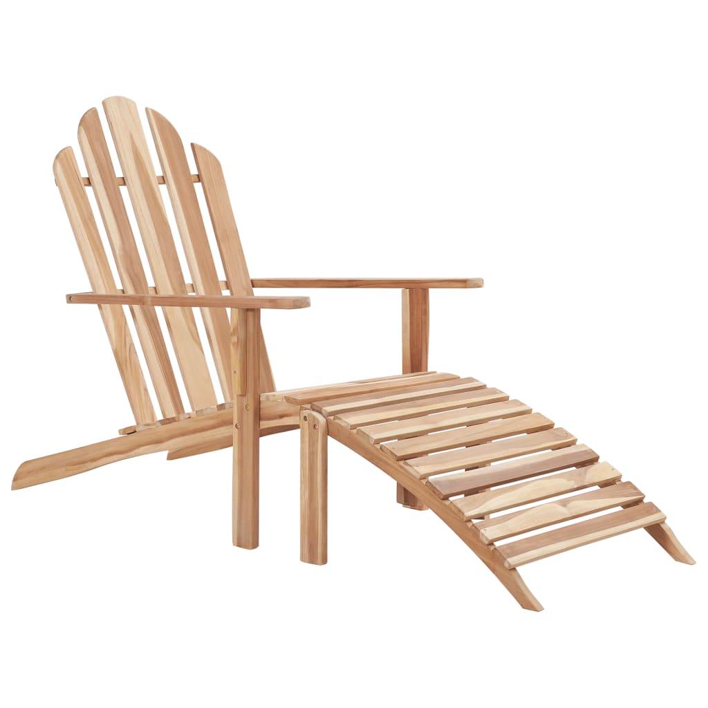vidaXL Krzesło tekowe Adirondack z podnóżkiem