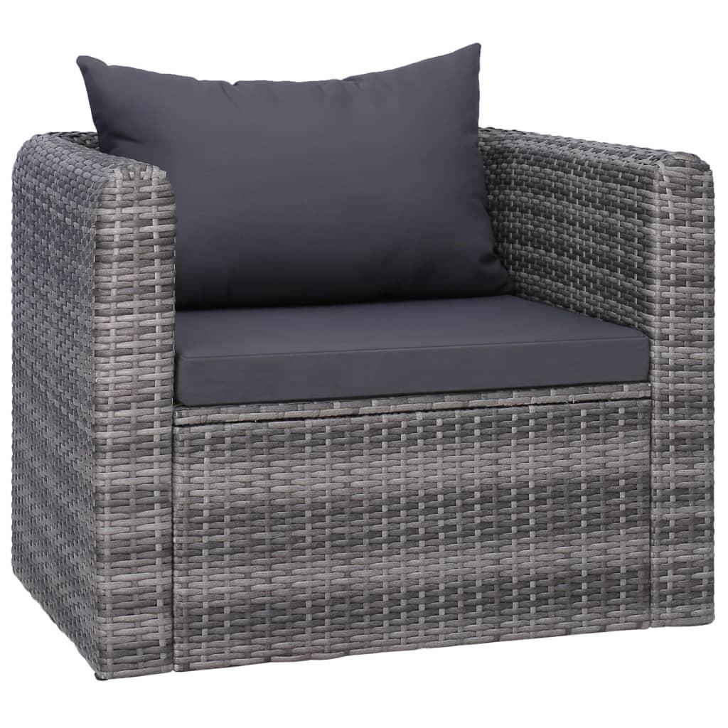 vidaXL Ogrodowe krzesło z poduszką, rattan PE, szare