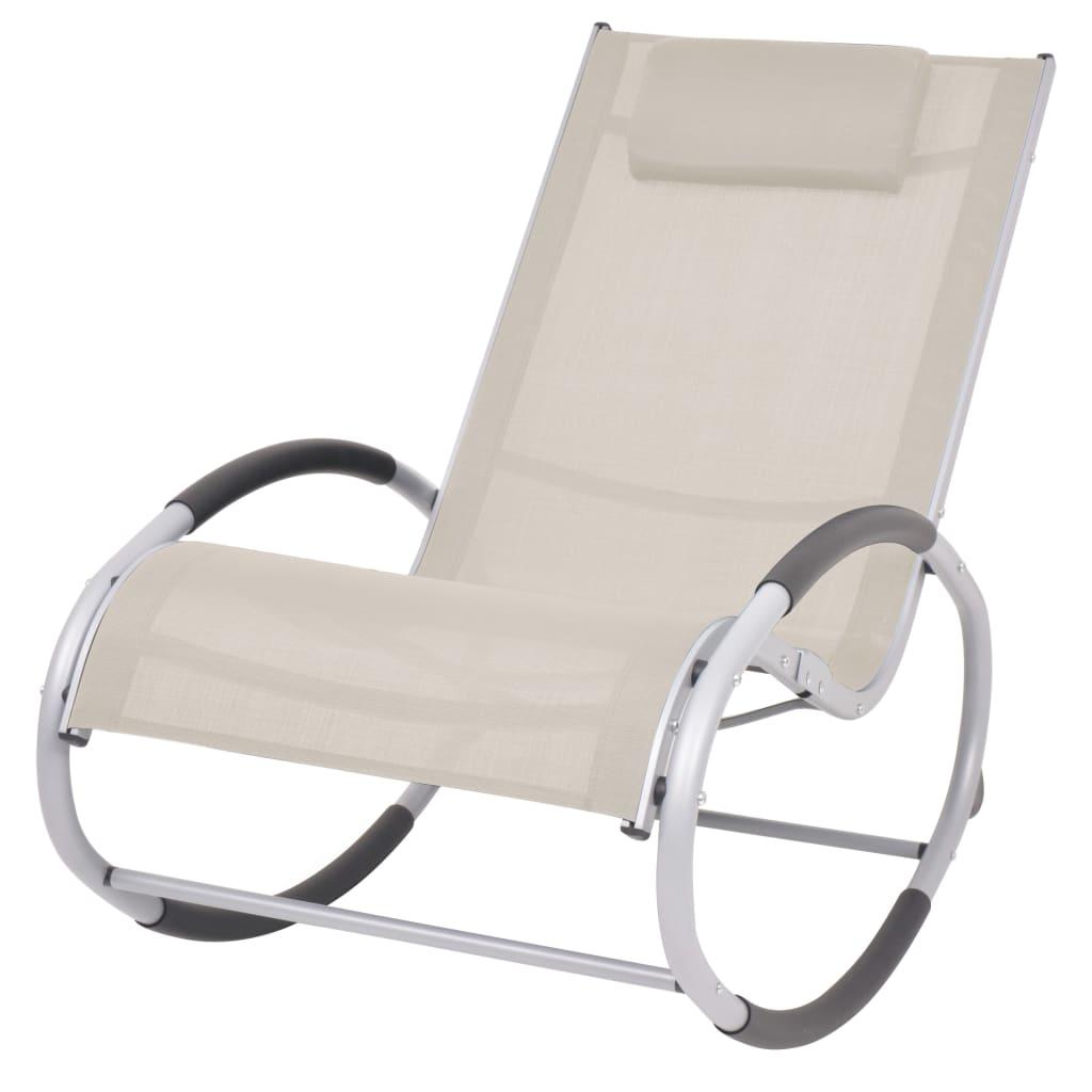 vidaXL Ogrodowy fotel bujany, kremowy, textilene