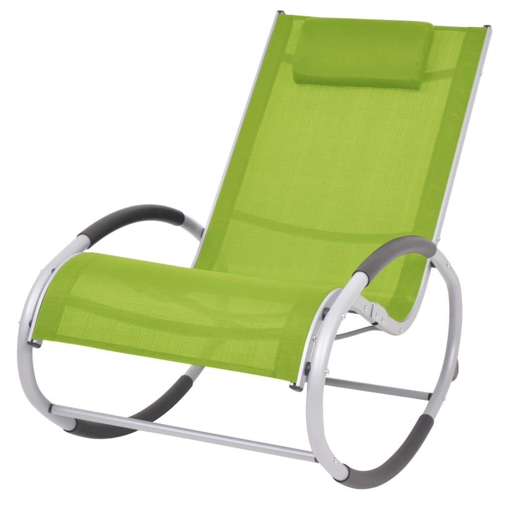 vidaXL Ogrodowy fotel bujany, zielony, textilene