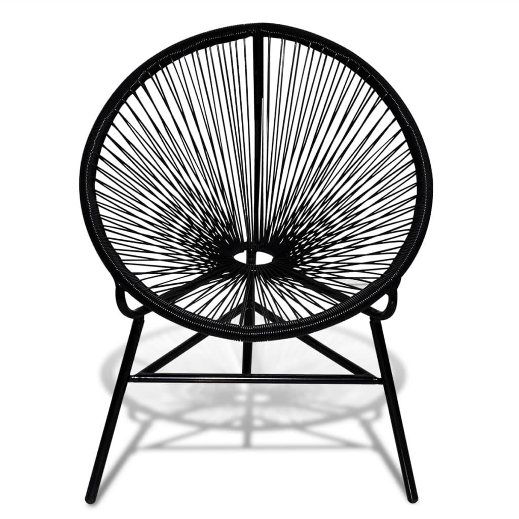 vidaXL Okrągłe krzesło ogrodowe, polirattan, czarne