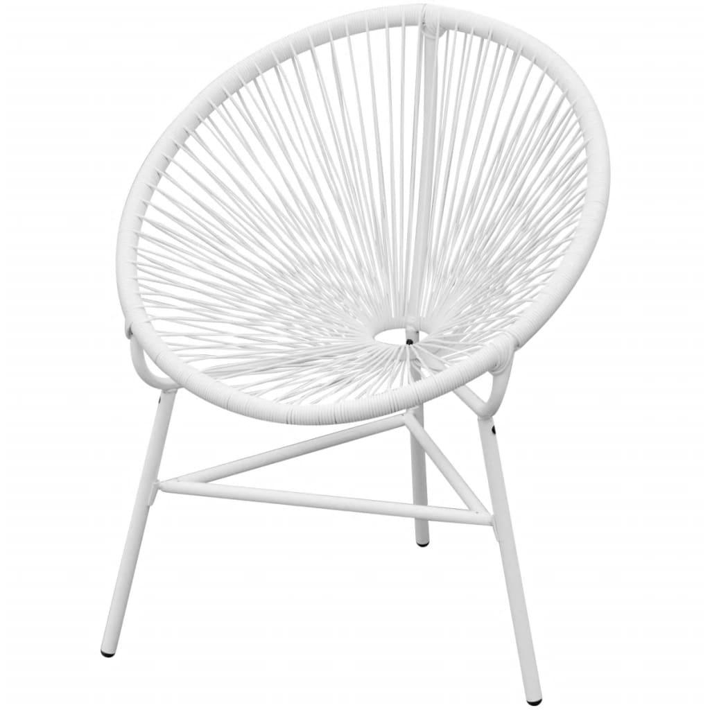 vidaXL Owalne krzesło ogrodowe, polirattan, białe