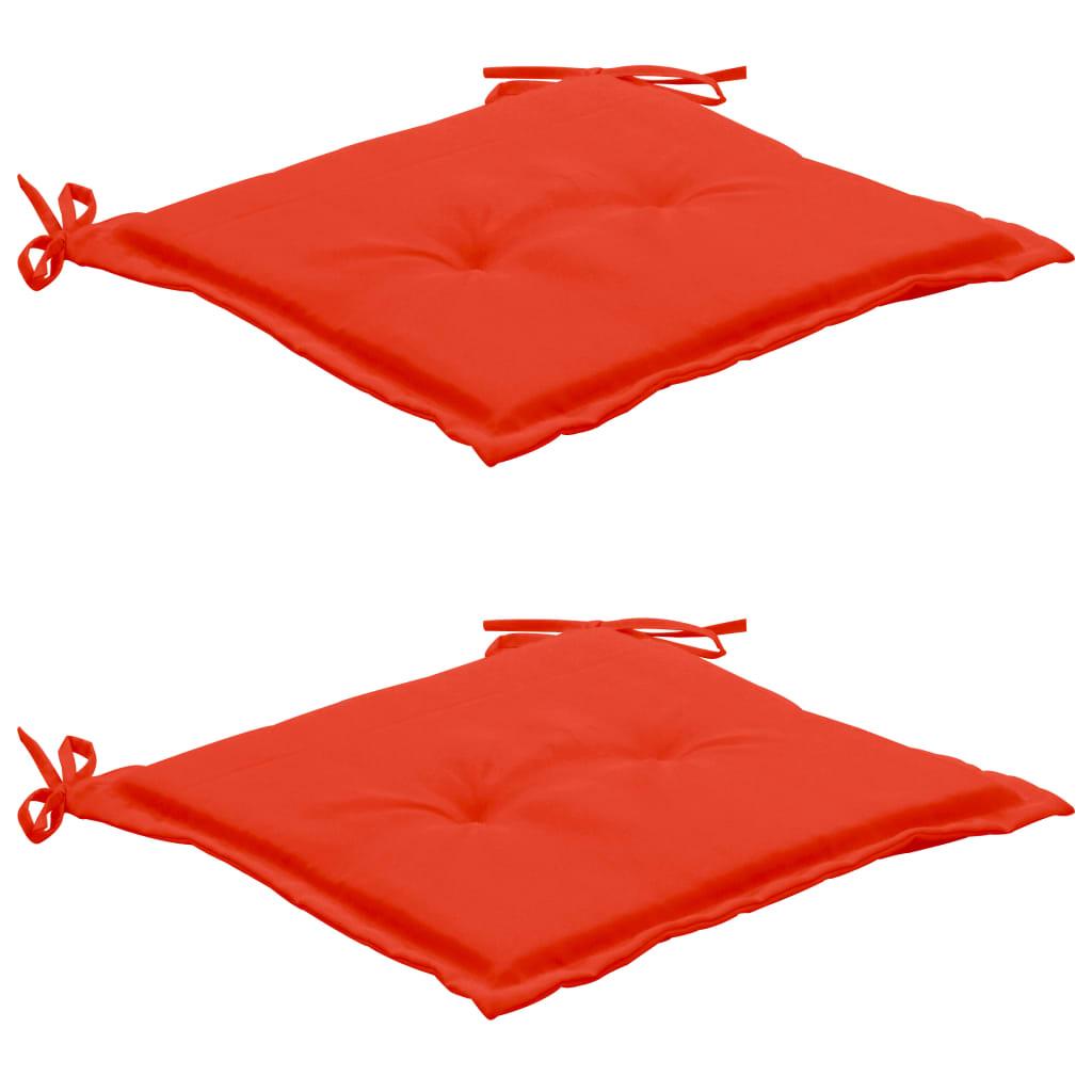 vidaXL Poduszki na krzesło ogrodowe, 2 szt., czerwone, 50x50x3 cm