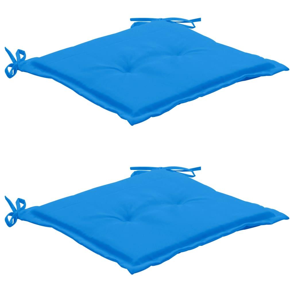 vidaXL Poduszki na krzesło ogrodowe, 2 szt., niebieskie, 50x50x3 cm