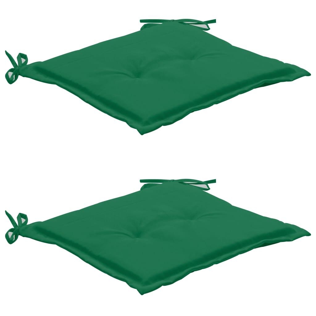 vidaXL Poduszki na krzesło ogrodowe, 2 szt., zielone, 50x50x3 cm