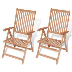 vidaXL Rozkładane krzesła ogrodowe, 2 szt., lite drewno teakowe