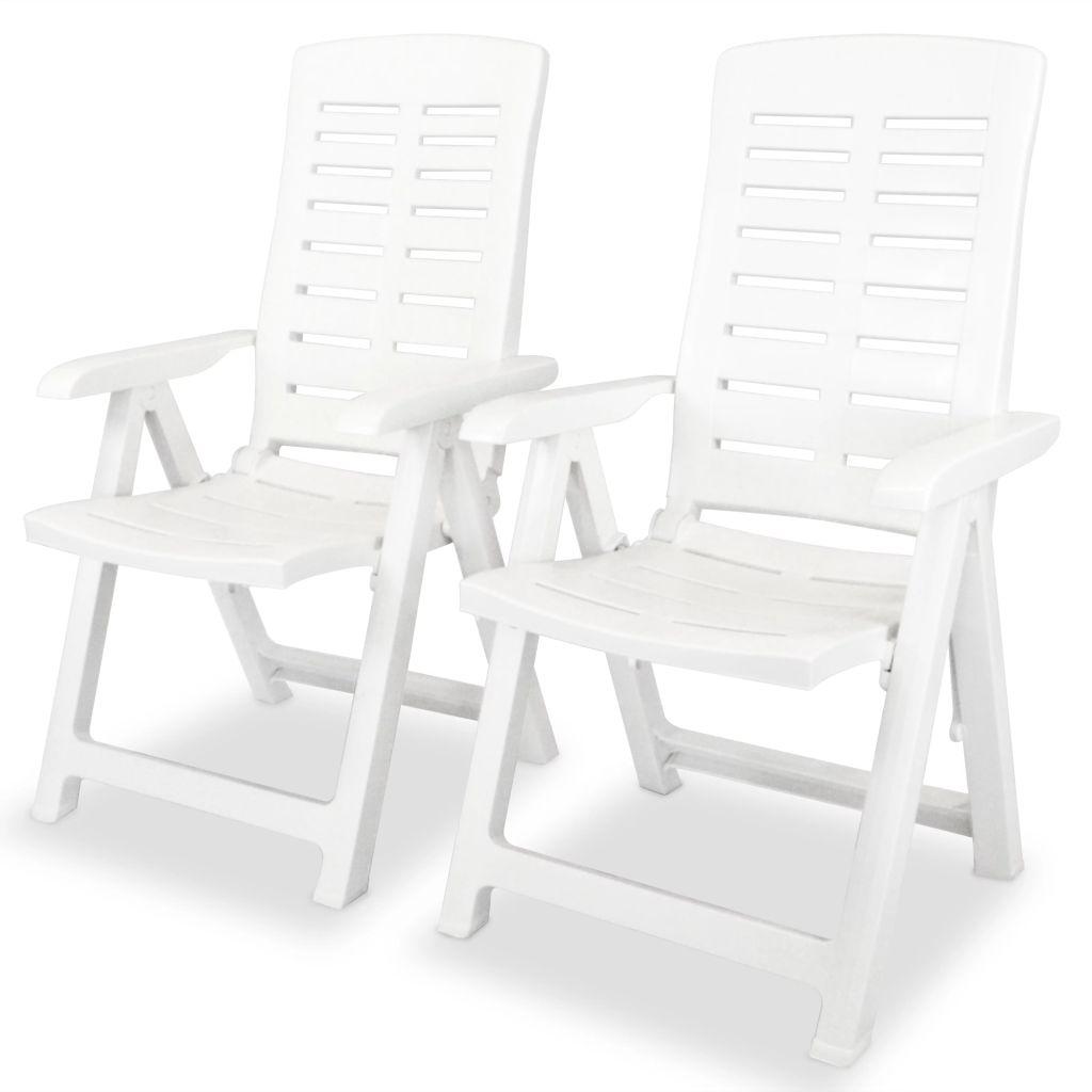 vidaXL Rozkładane krzesło ogrodowe, 2 szt., plastikowe, białe