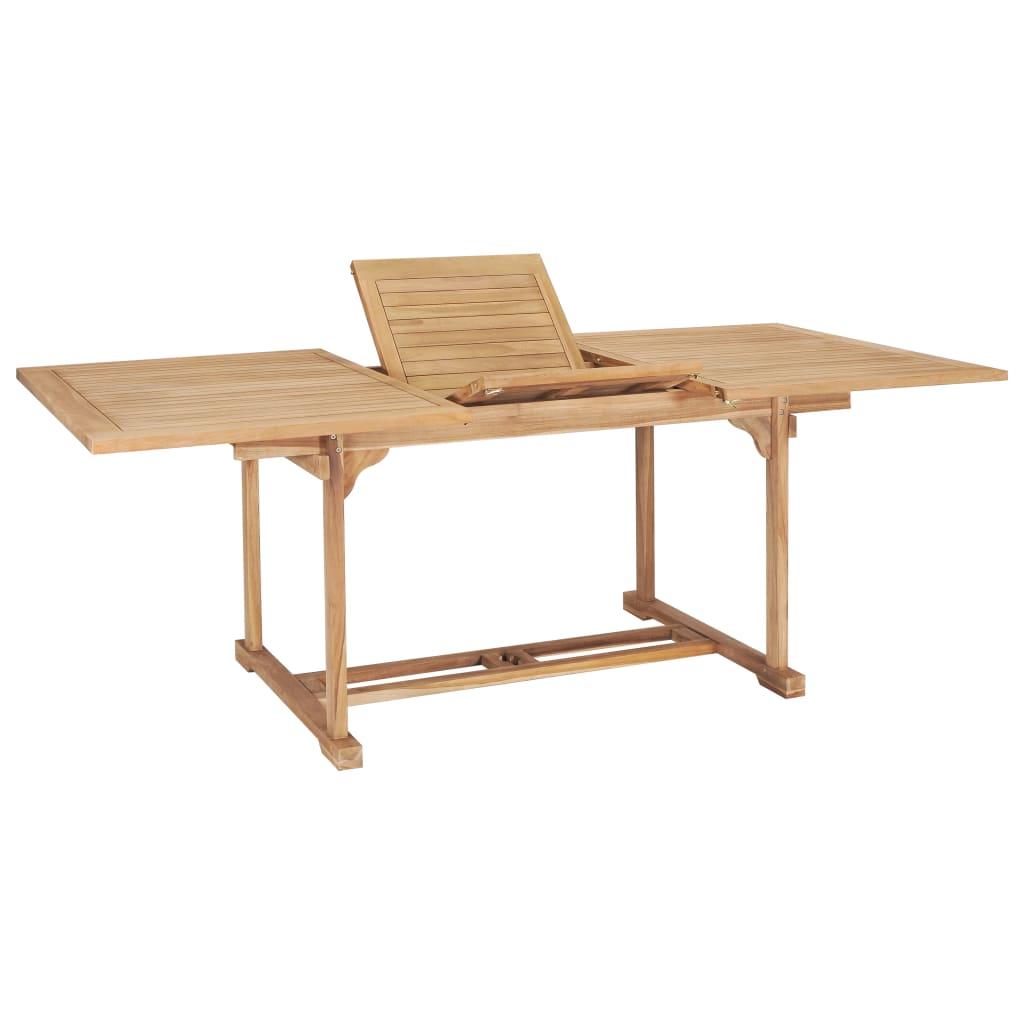 vidaXL Rozkładany stół ogrodowy, 150-200x100x75 cm, lite drewno tekowe