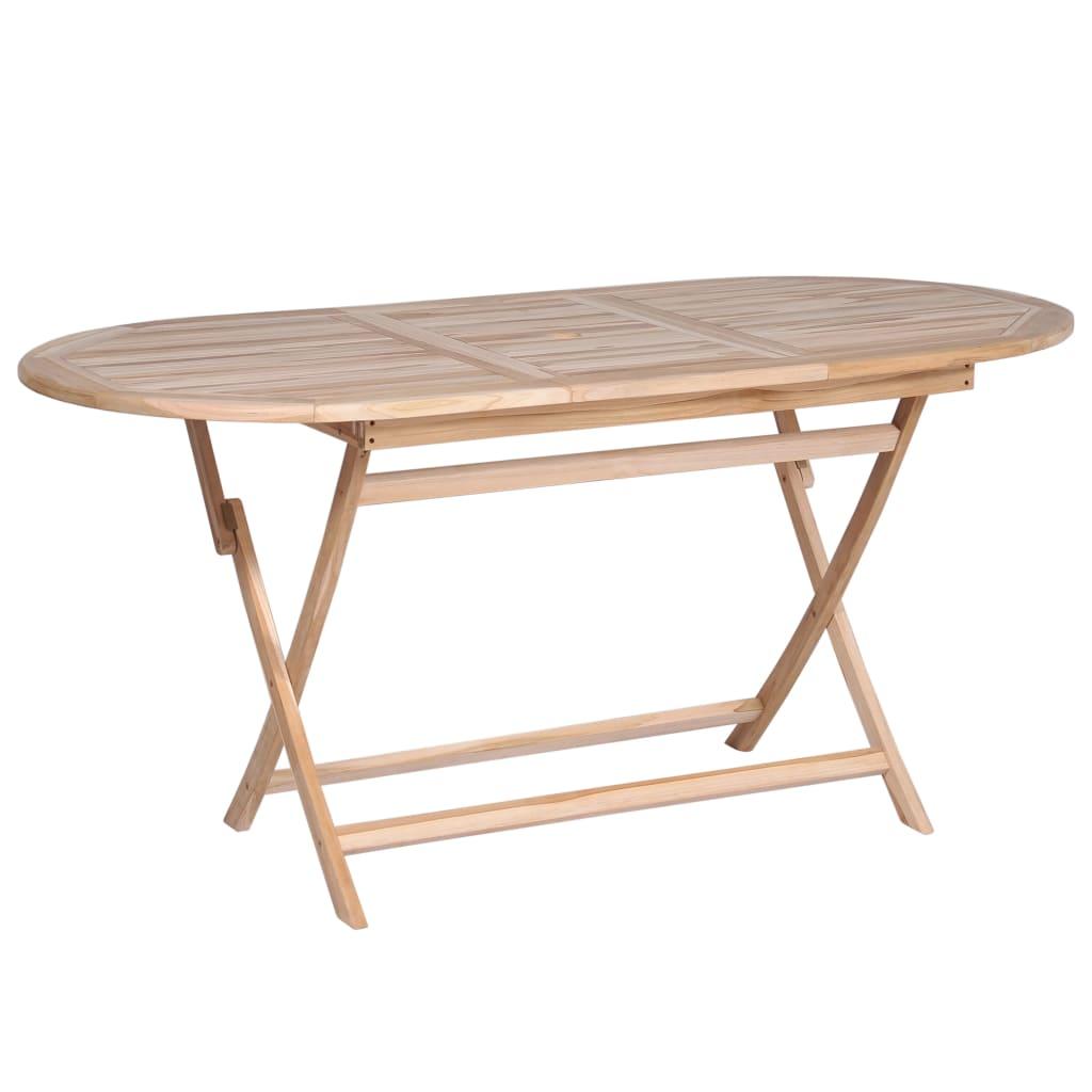 vidaXL Składany stół ogrodowy, 160x80x75 cm, lite drewno tekowe
