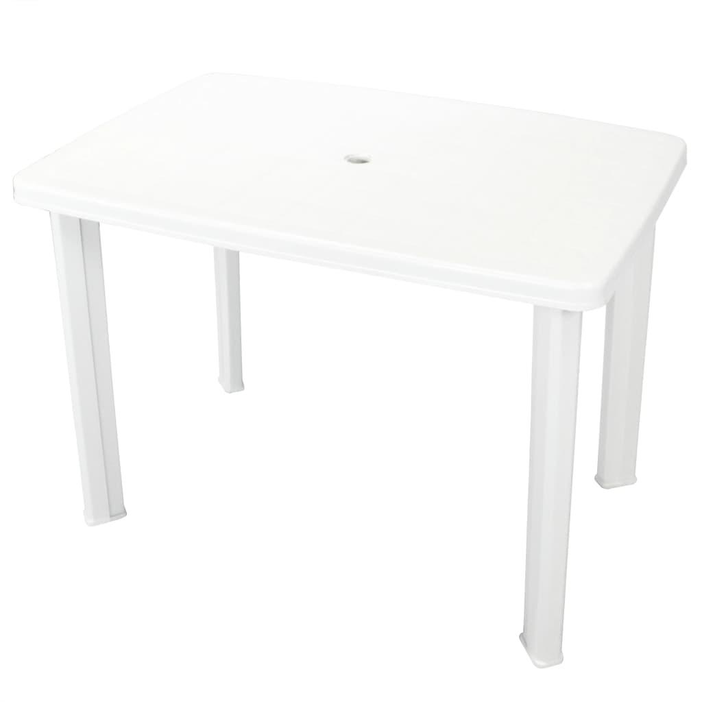 vidaXL Stół ogrodowy, biały, 101 x 68 x 72 cm, plastikowy